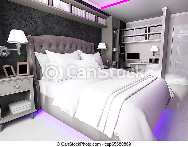 interior of a modern bedroom, made in dark colors - csp65680869
