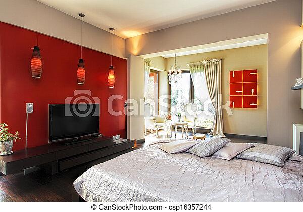 Interior of a modern bedroom - csp16357244