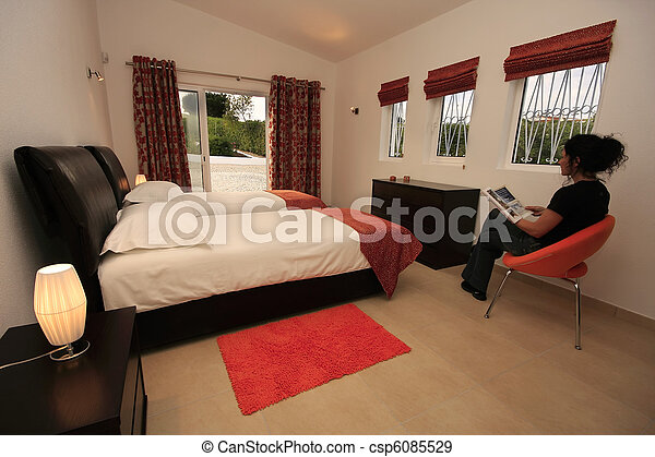 Interior of a modern bedroom - csp6085529