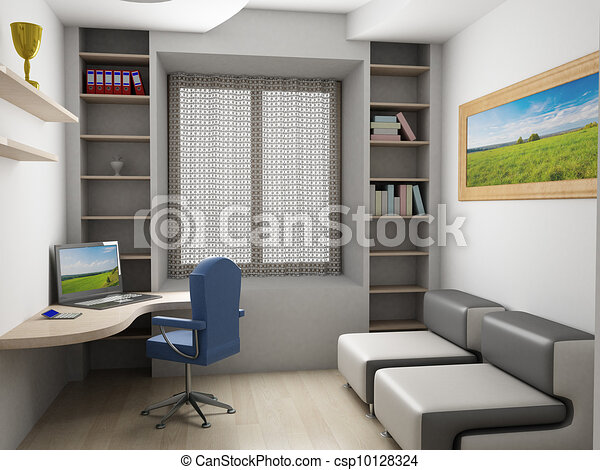 Interior of a room. 3D image. - csp10128324