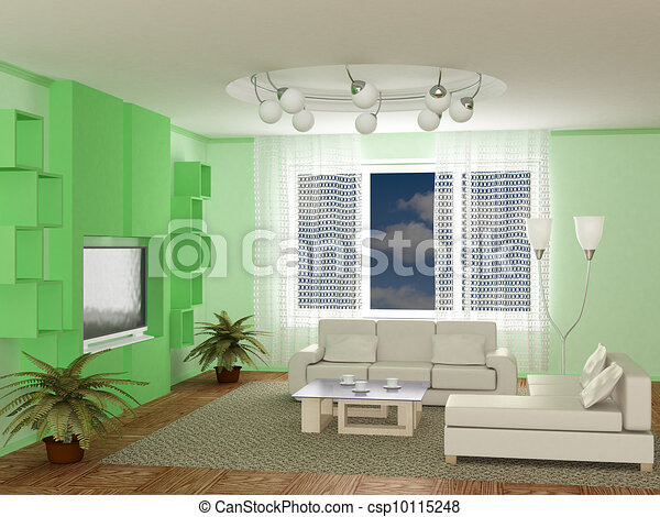 Interior of a room of rest. 3D image - csp10115248