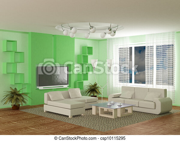 Interior of a room of rest. 3D image - csp10115295
