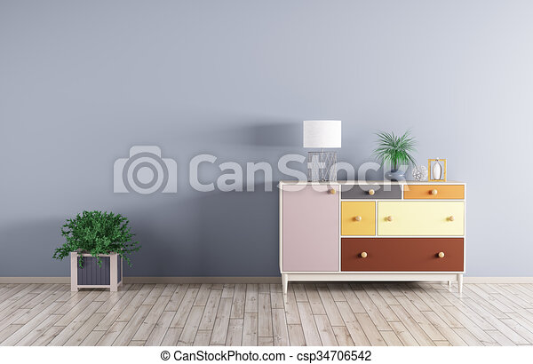 Interior of a room with cabinet 3d render - csp34706542