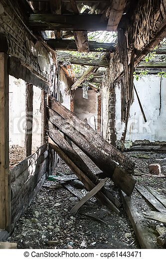 interior of an old wooden house - csp61443471