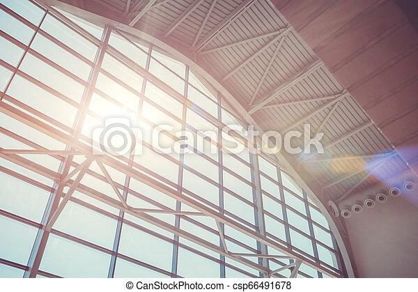 Interior of business center. Modern buildings. Window design - csp66491678