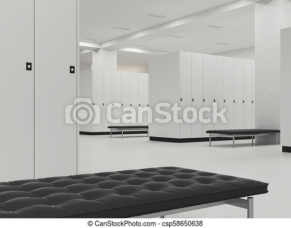 Interior of changing room in the gym d rendering interior of