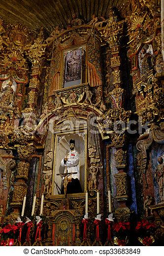 Interior of Church Chapel Religious Symbols - csp33683849
