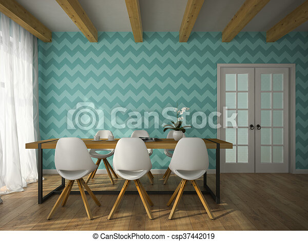 Interior Of Dining Room With Blue Wallpaper 3D Rendering