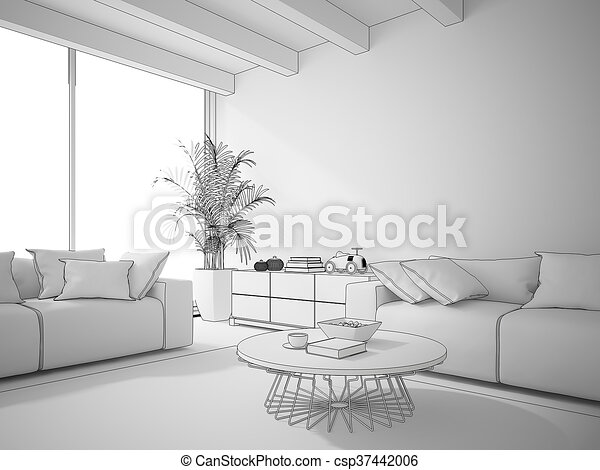Lovely Interior Of Living Room Draw 3D Rendering   Csp37442006