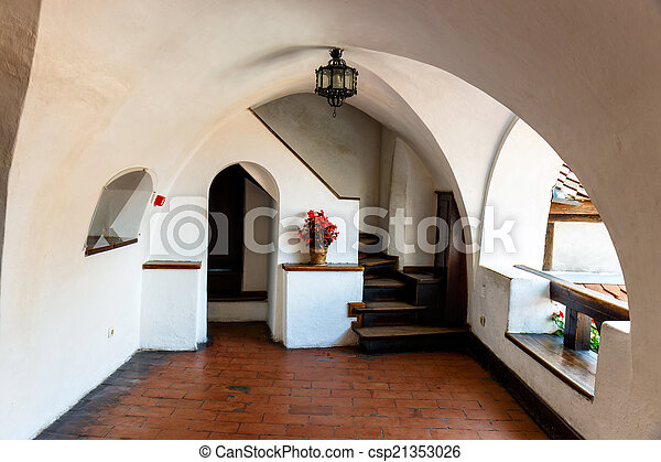 Interior of Medieval Castle of Bran also known for the myth of Dracula.  - csp21353026