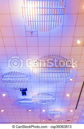 interior of metal roof structure of modern building - csp39363813