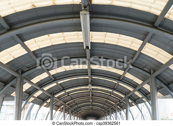 interior of metal roof structure of modern building. - csp39362561