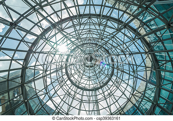 interior of metal roof structure of modern building. - csp39363161
