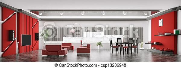 Interior of modern apartment panorama 3d render - csp13206948