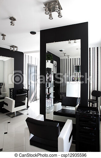 interior of modern beauty salon black and white interior of stock photographs search photo. Black Bedroom Furniture Sets. Home Design Ideas