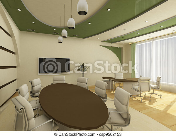 Interior of modern creative office with workplace - csp9502153