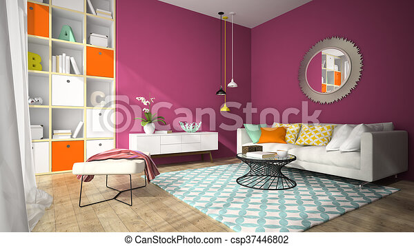 Interior of modern design living room with round mirror 3d rendering.