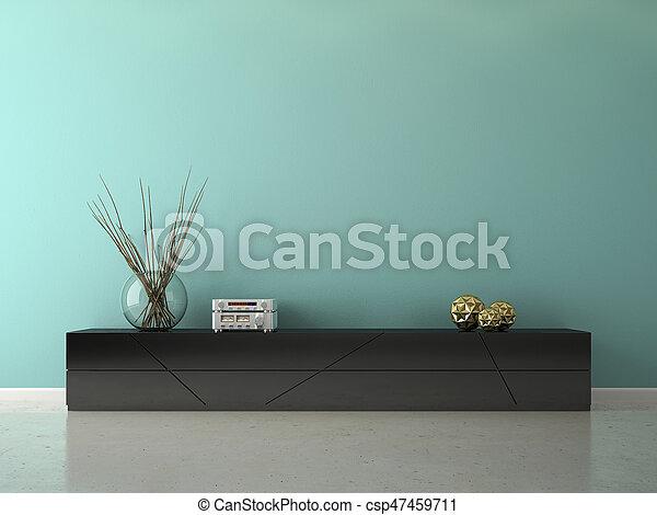Interior of modern design room 3D rendering - csp47459711