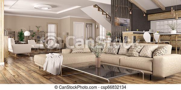 Interior Of Modern Home Panorama 3d Rendering