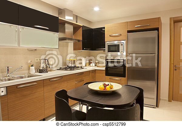 Interior of modern kitchen . A beautiful new apartment .interior of ...