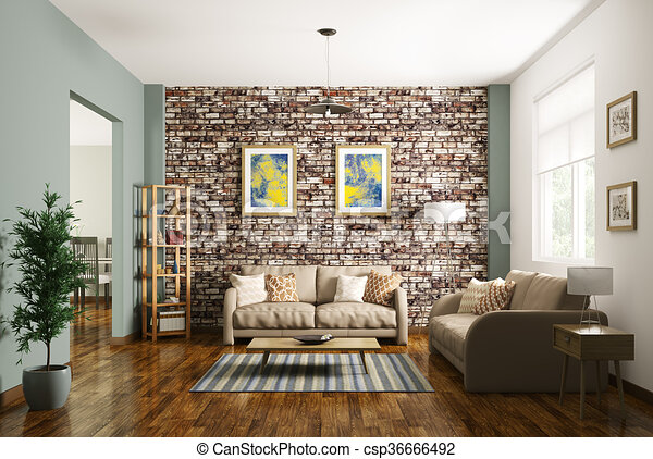 Interior Of Modern Living Room 3d Rendering   Csp36666492