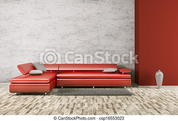 Interior of modern living room 3d render - csp16553023