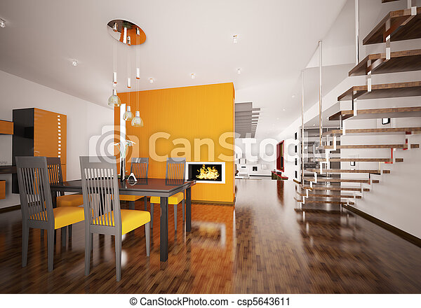 Interior of modern orange kitchen 3d render - csp5643611