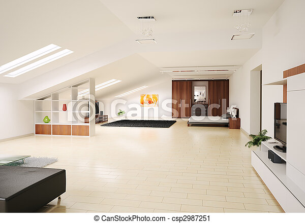 Fantastisch Interior Of Penthouse 3d Render   Csp2987251
