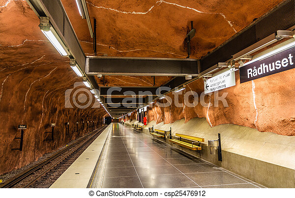 Interior of Radhuset station, Stockholm metro - csp25476912