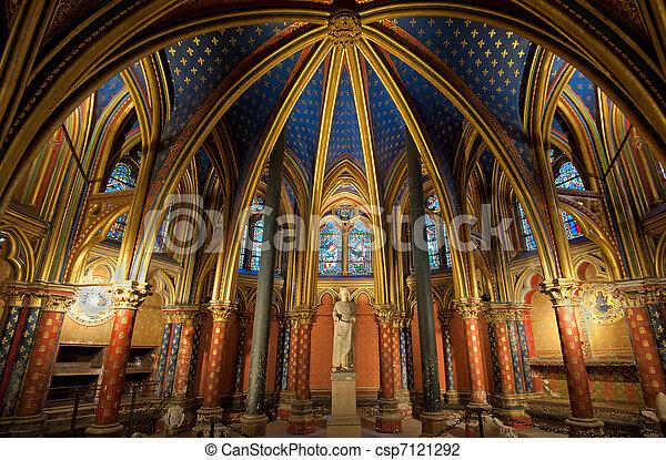 Interior Of Sainte Chapelle Paris France