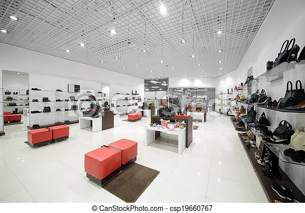 Interior of shoe store in modern european mall. bright and
