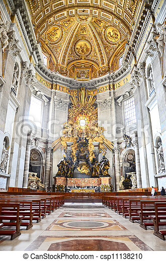 Interior of the Saint Peter Cathedral in Vatican - csp11138210