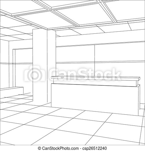Interior office outlined. Tracing illustration of 3d - csp26512240