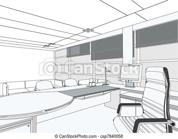 Interior office room vector.