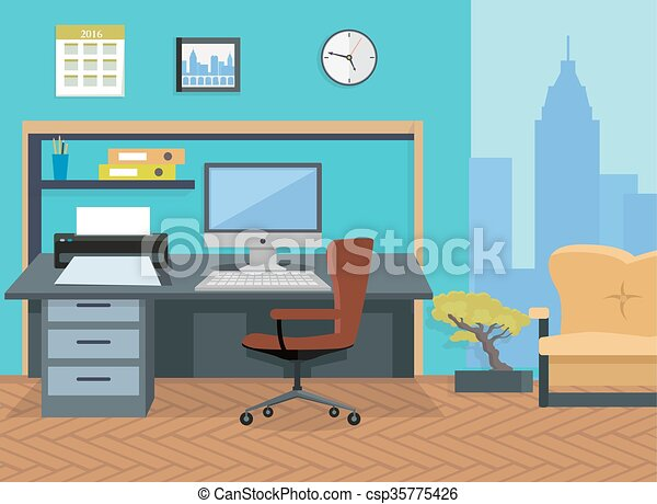 Interior office room. illustration for design. Modern office ...