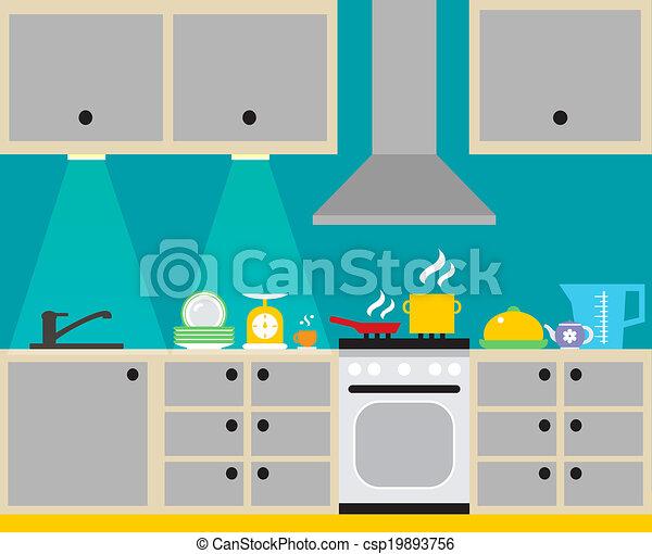 Interior, plakat, køkken. Plakat, husholdning, moderne, illustration ...
