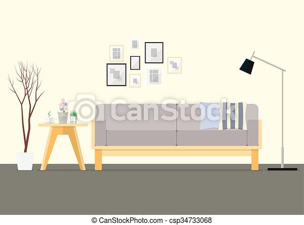 Sala de interiores de diseño plano - csp34733068