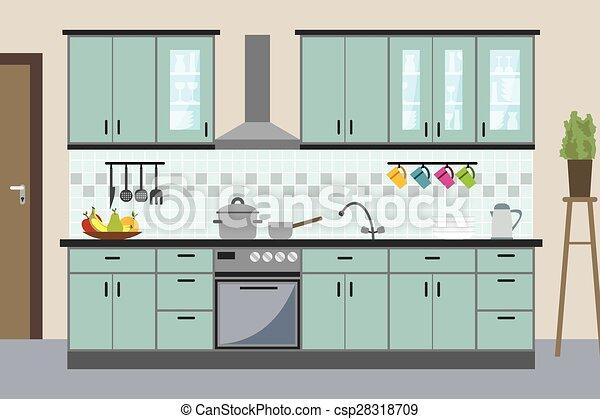 La cocina moderna interior al estilo plano - csp28318709