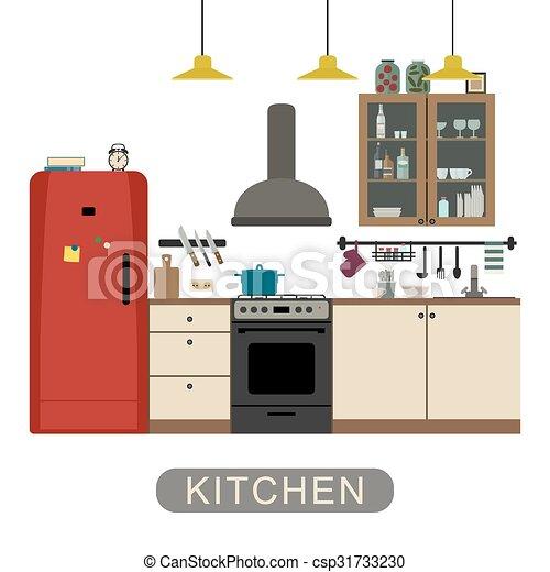 El interior de la cocina es plano. - csp31733230