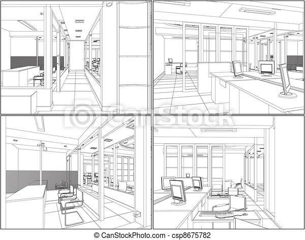 interior, quartos, escritório - csp8675782