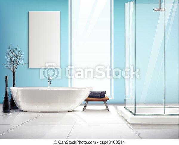 Interior, realista, cuarto de baño, diseño. Cuarto de baño ...