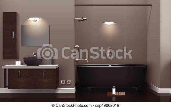 interior, realista, cuarto de baño, diseño