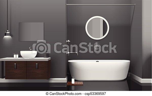 Interior, realista, cuarto de baño, moderno, diseño. Cuarto de baño ...