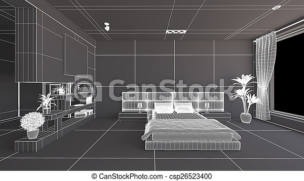 Interior rendering of a bedroom without textures - csp26523400