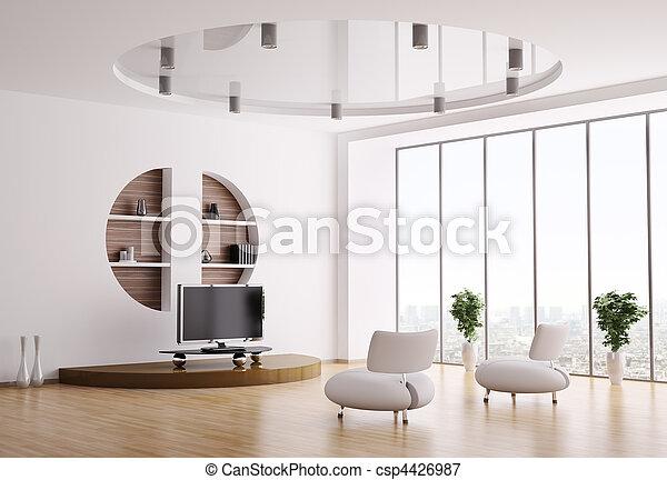 interior, sala de estar, 3d - csp4426987
