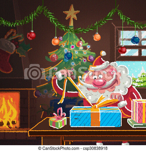 Interior scene of cartoon Santa Claus wrapping gifts for Christmas - csp30838918