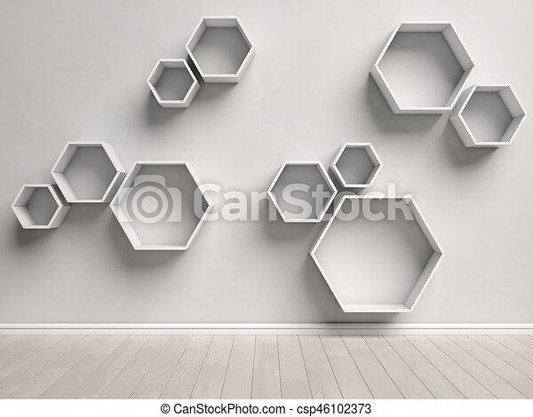 Forskellige Interior, sekskant, tom, hylder. Rend, hylder, mur, interior HL26