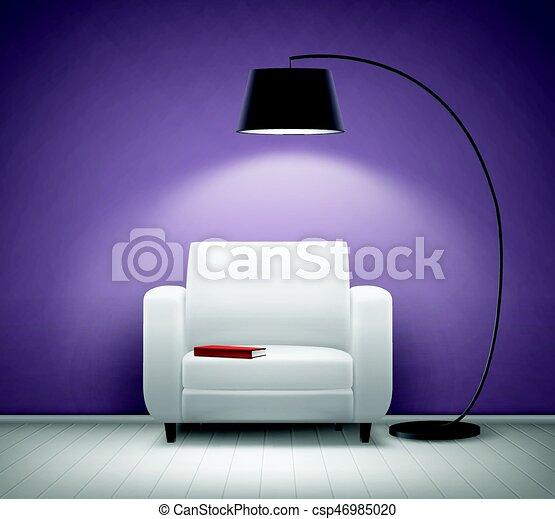 Interior con sillón - csp46985020