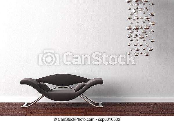 Sillones de diseño interior y lámpara en blanco - csp6010532