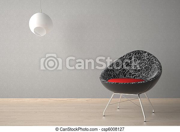 Diseño de interior con sillón y lámpara - csp6008127